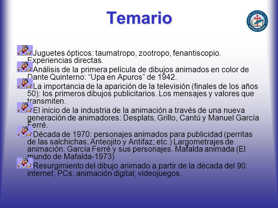 Temario Juguetes ópticos: taumatropo, zootropo, fenantiscopio. Experiencias directas.