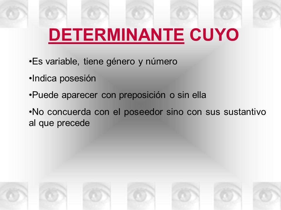 DETERMINANTE CUYO Es variable, tiene género y número Indica posesión