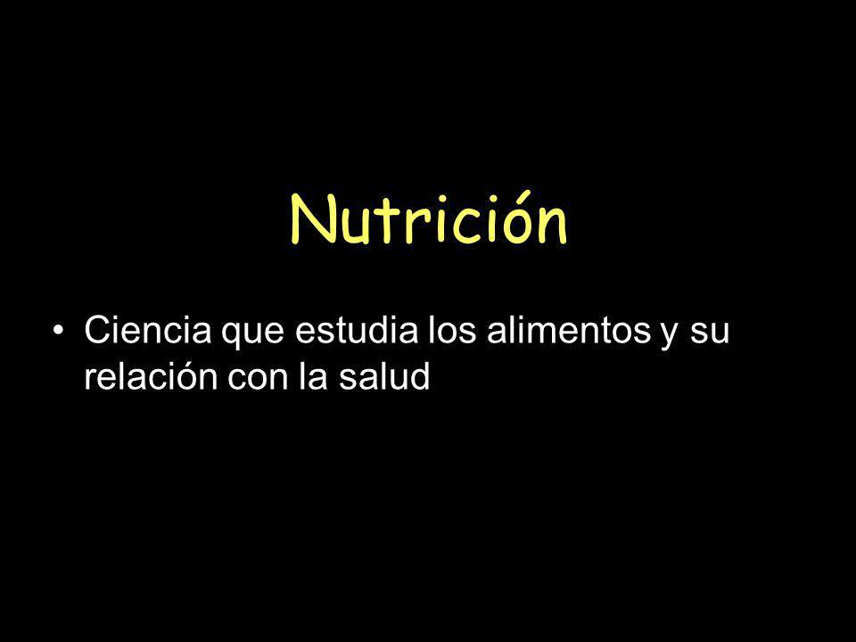 Nutrición Ciencia que estudia los alimentos y su relación con la salud