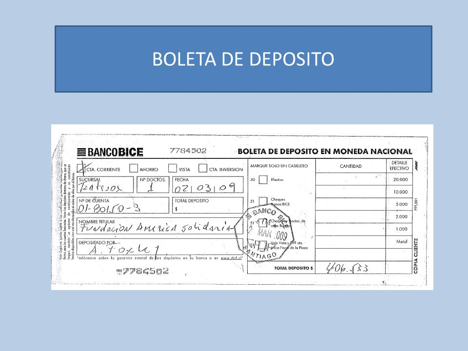 BOLETA DE DEPOSITO