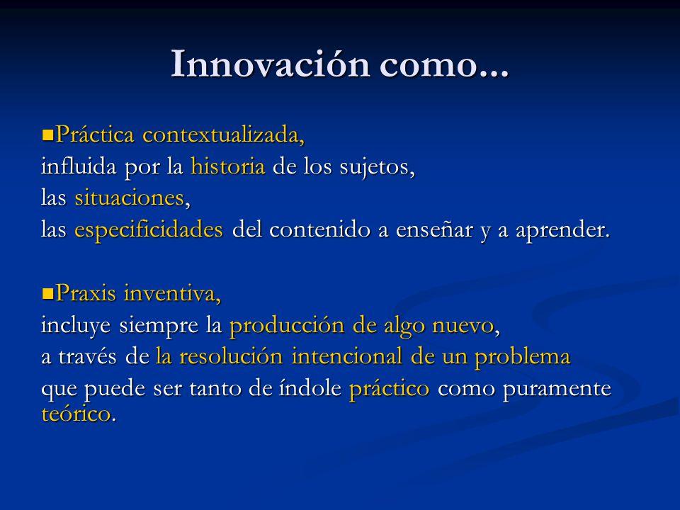 Innovación como... Práctica contextualizada,