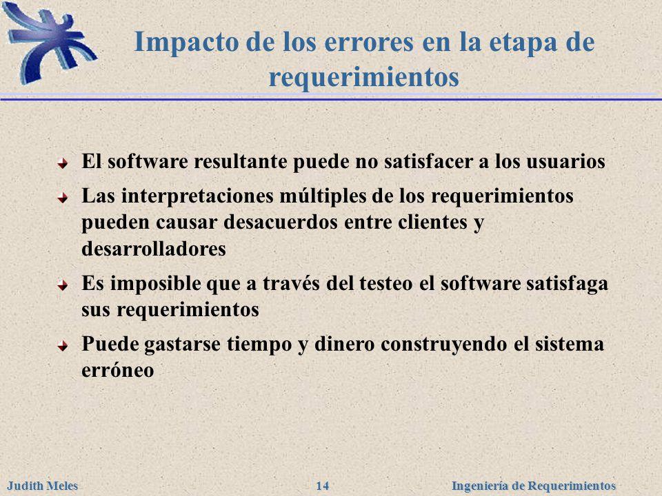 Impacto de los errores en la etapa de requerimientos