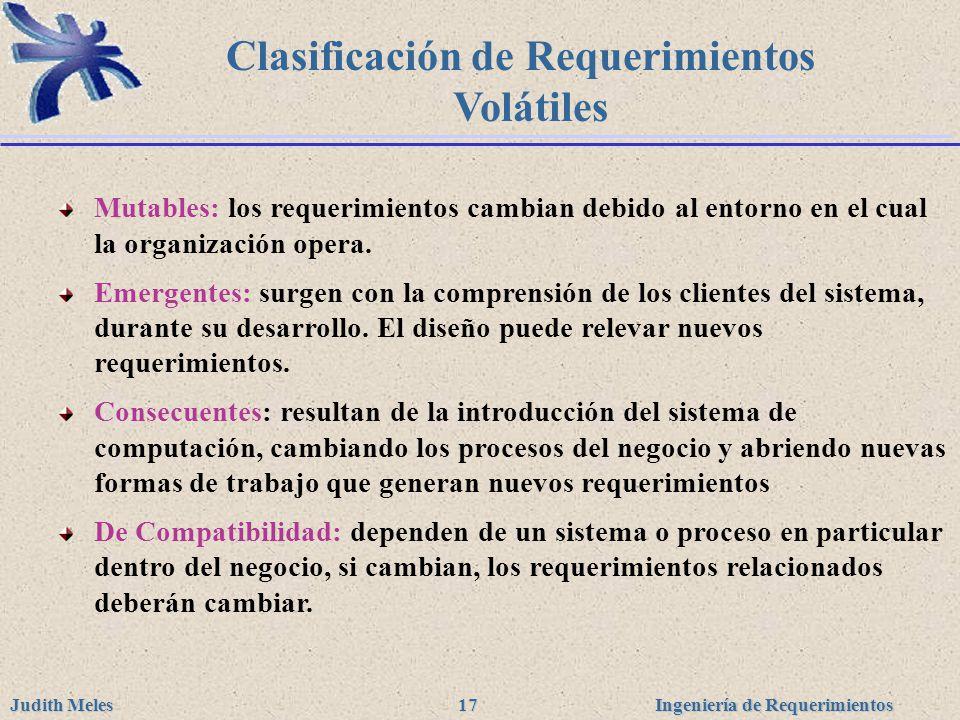 Clasificación de Requerimientos Volátiles
