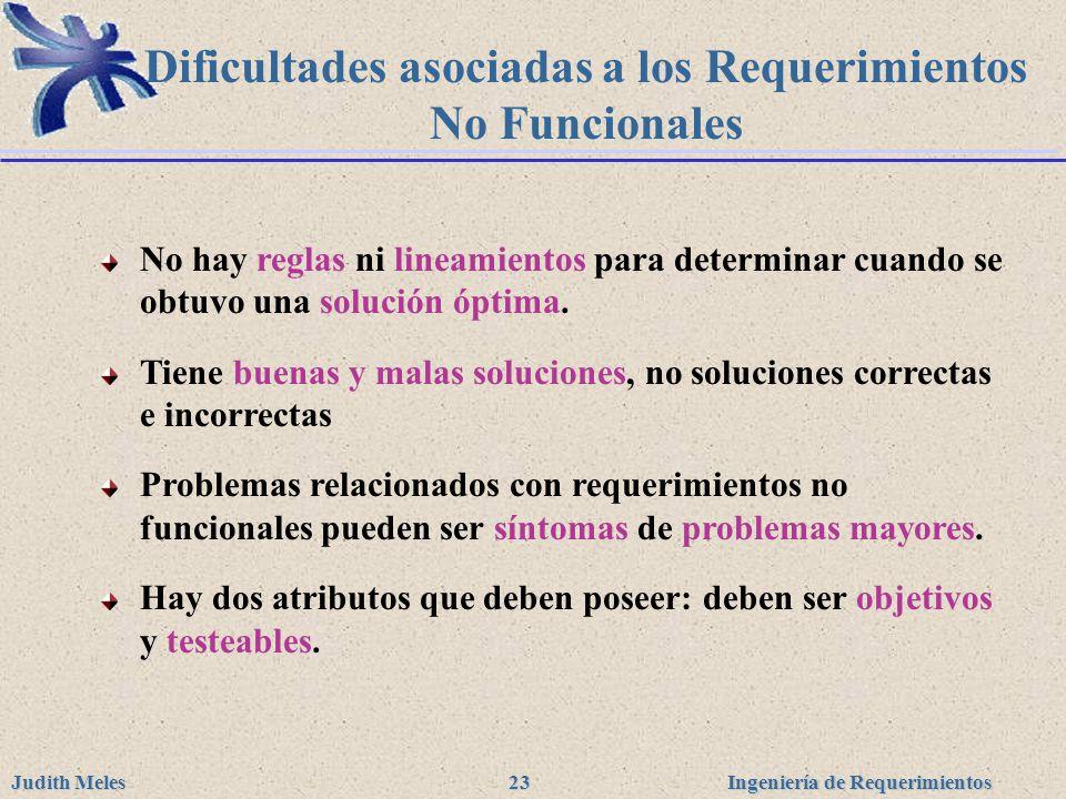 Dificultades asociadas a los Requerimientos No Funcionales