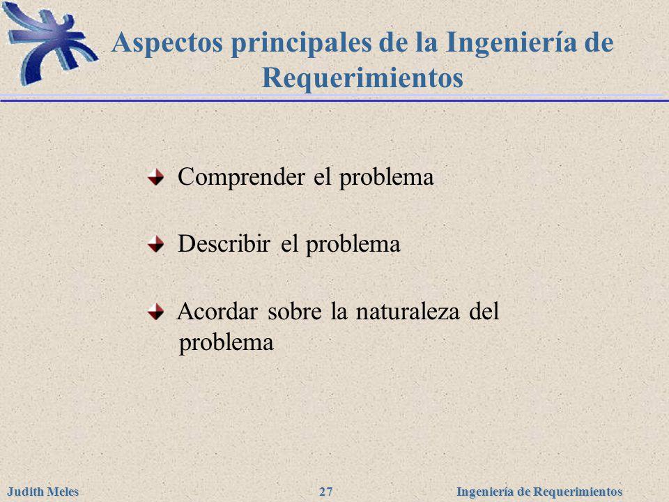 Aspectos principales de la Ingeniería de Requerimientos