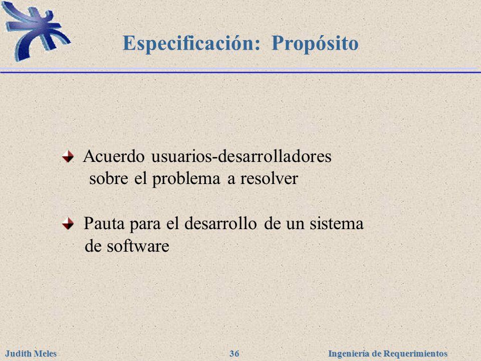 Especificación: Propósito