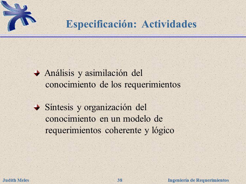 Especificación: Actividades