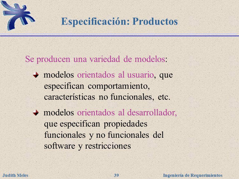 Especificación: Productos