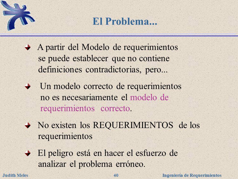 El Problema... A partir del Modelo de requerimientos se puede establecer que no contiene definiciones contradictorias, pero...