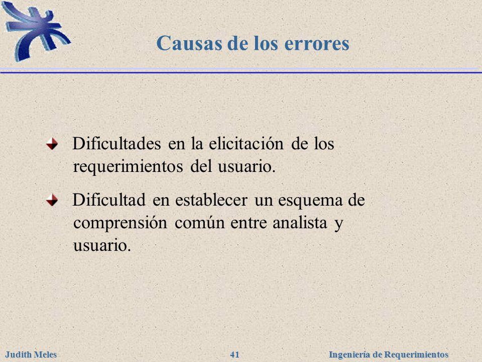 Causas de los errores Dificultades en la elicitación de los requerimientos del usuario.