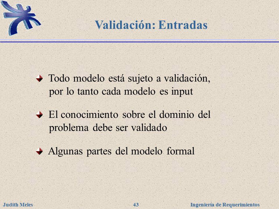 Validación: Entradas Todo modelo está sujeto a validación, por lo tanto cada modelo es input.