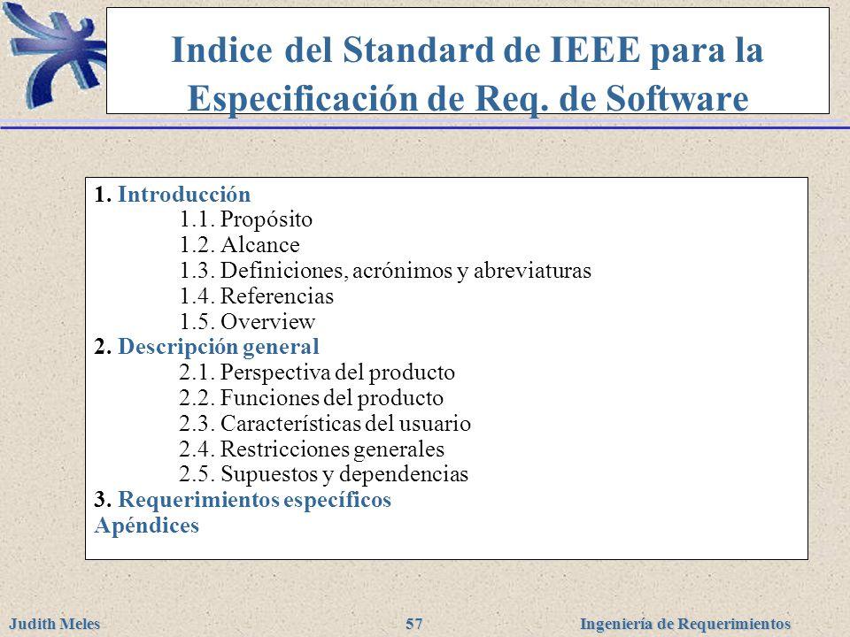 Indice del Standard de IEEE para la Especificación de Req. de Software