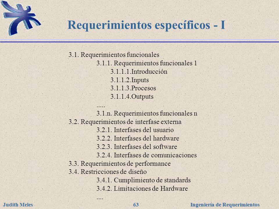 Requerimientos específicos - I