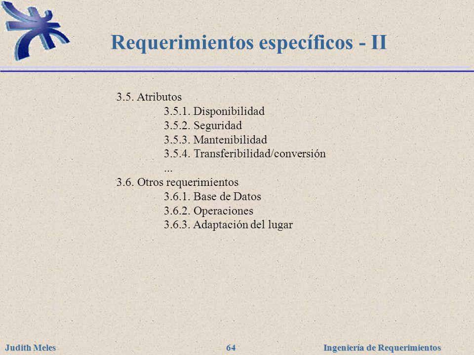 Requerimientos específicos - II