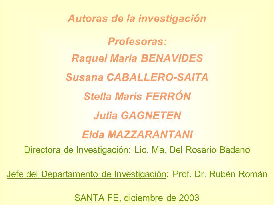 Autoras de la investigación Profesoras: Raquel María BENAVIDES