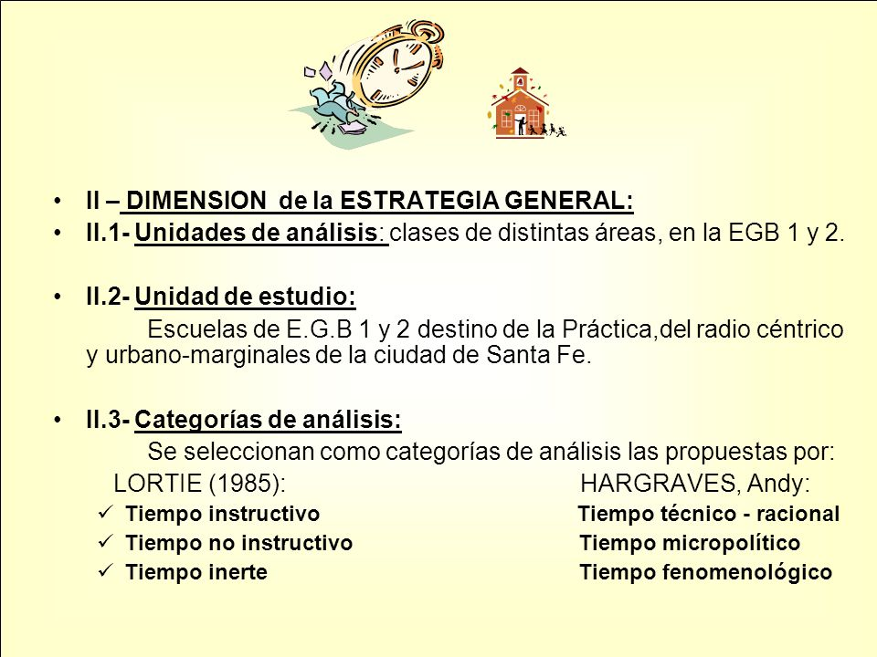 II – DIMENSION de la ESTRATEGIA GENERAL: