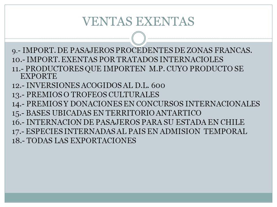 VENTAS EXENTAS 10.- IMPORT. EXENTAS POR TRATADOS INTERNACIOLES