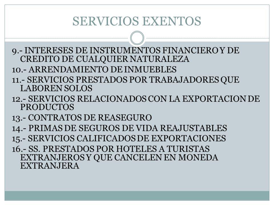 SERVICIOS EXENTOS