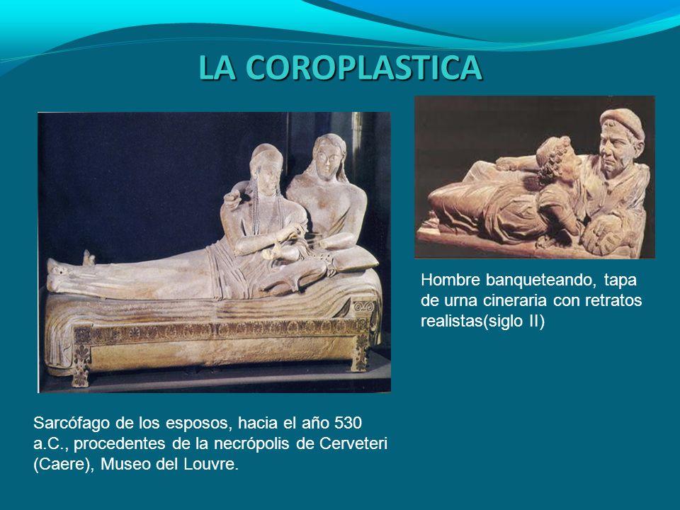 LA COROPLASTICAHombre banqueteando, tapa de urna cineraria con retratos realistas(siglo II)