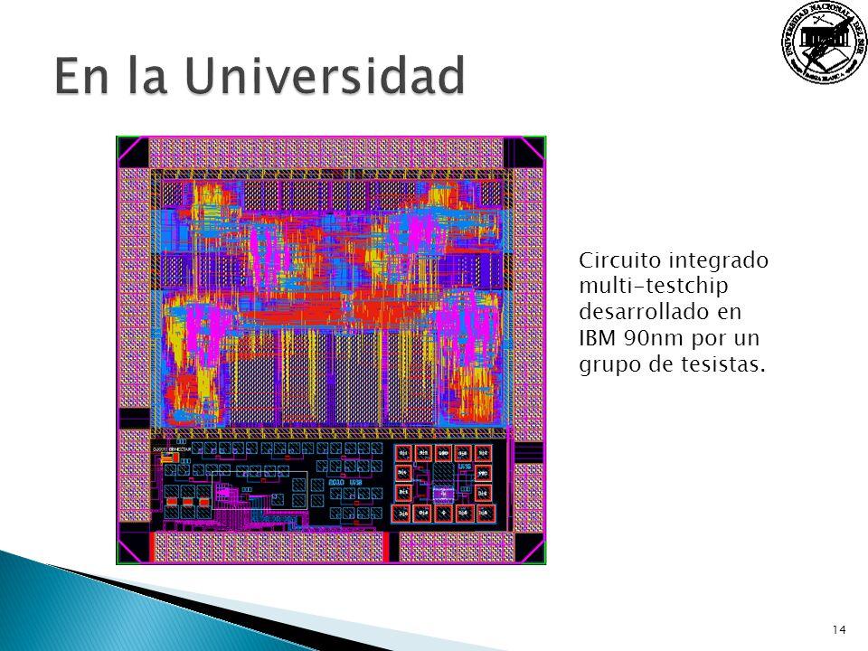 En la Universidad Circuito integrado multi-testchip desarrollado en IBM 90nm por un grupo de tesistas.
