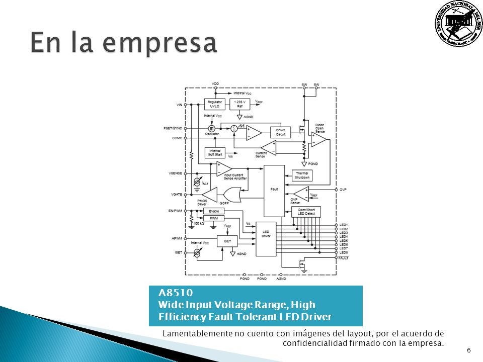 En la empresa A8510 Wide Input Voltage Range, High Efficiency Fault Tolerant LED Driver.