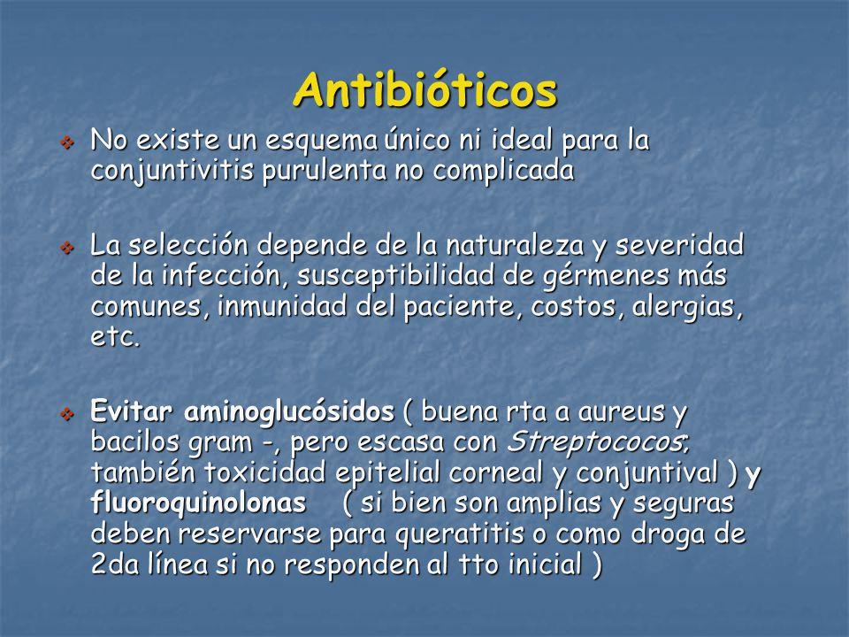 Antibióticos No existe un esquema único ni ideal para la conjuntivitis purulenta no complicada.