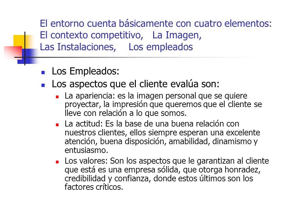 Los aspectos que el cliente evalúa son: