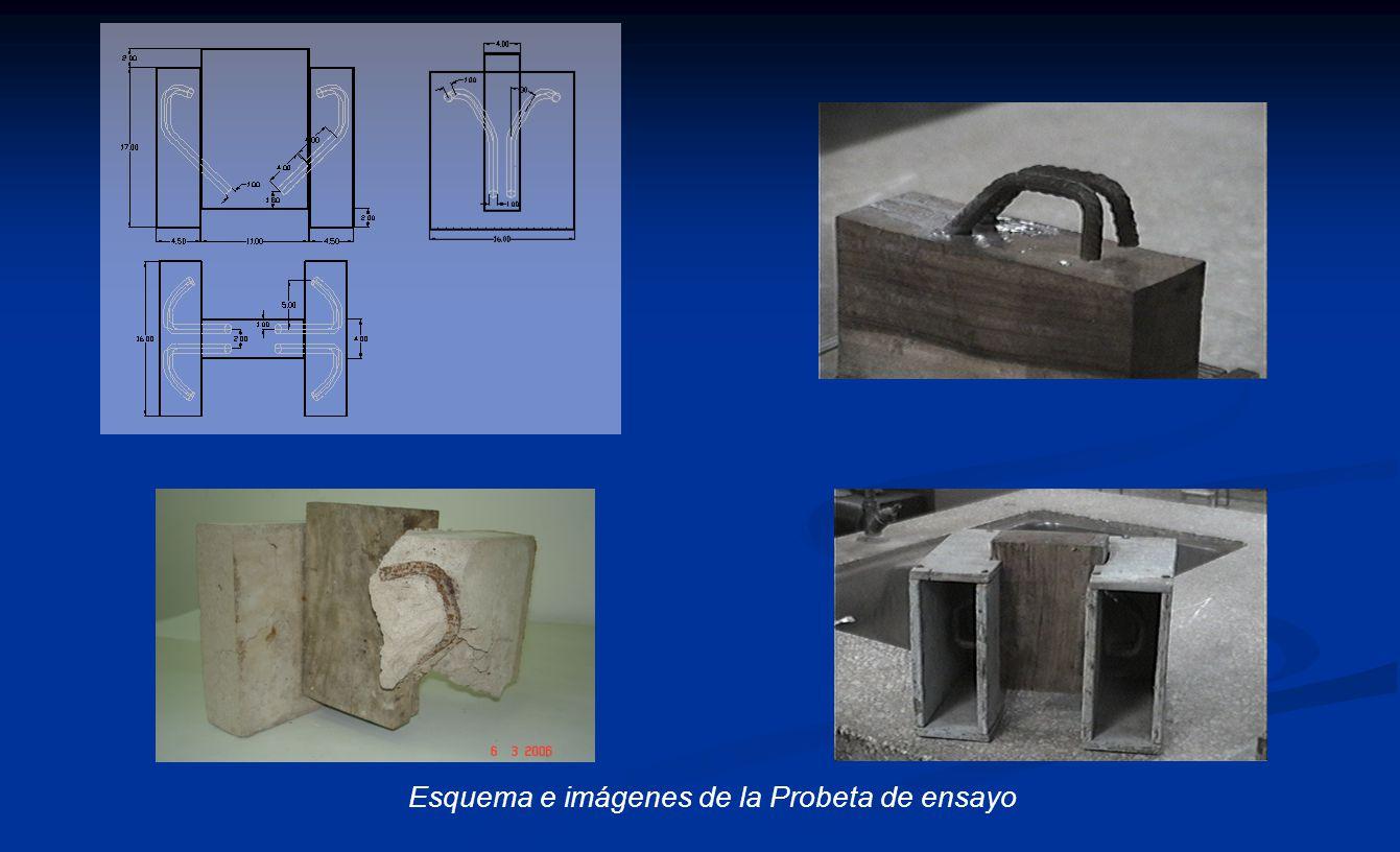 Esquema e imágenes de la Probeta de ensayo