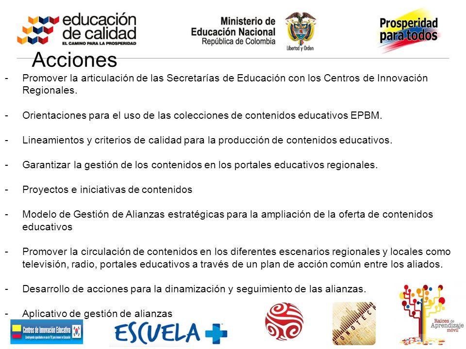 Acciones Promover la articulación de las Secretarías de Educación con los Centros de Innovación Regionales.
