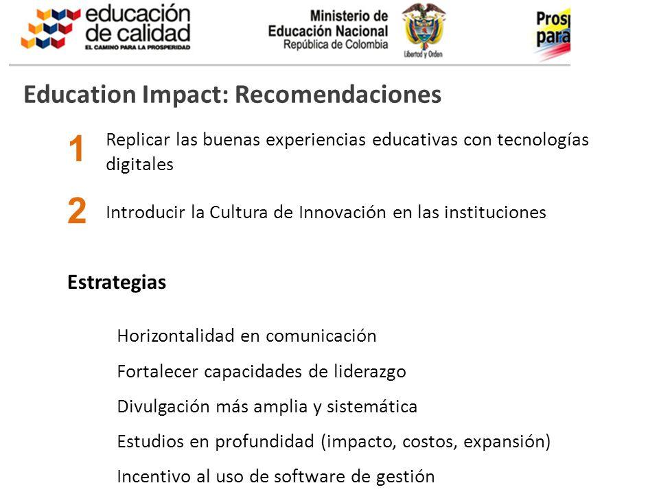 1 2 Education Impact: Recomendaciones Estrategias