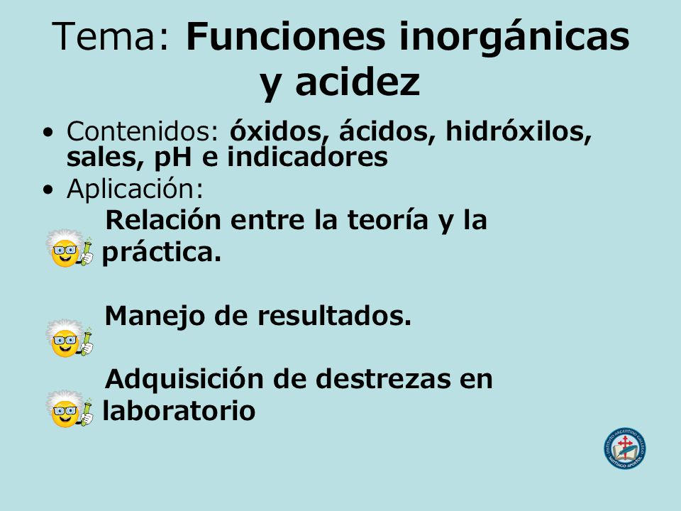 Tema: Funciones inorgánicas y acidez
