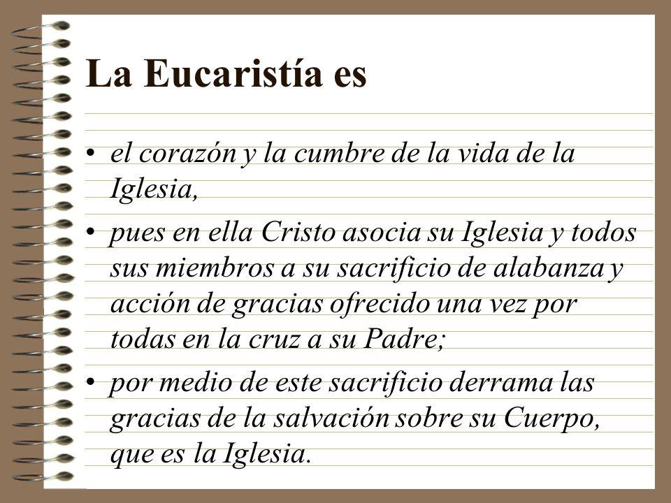La Eucaristía es el corazón y la cumbre de la vida de la Iglesia,