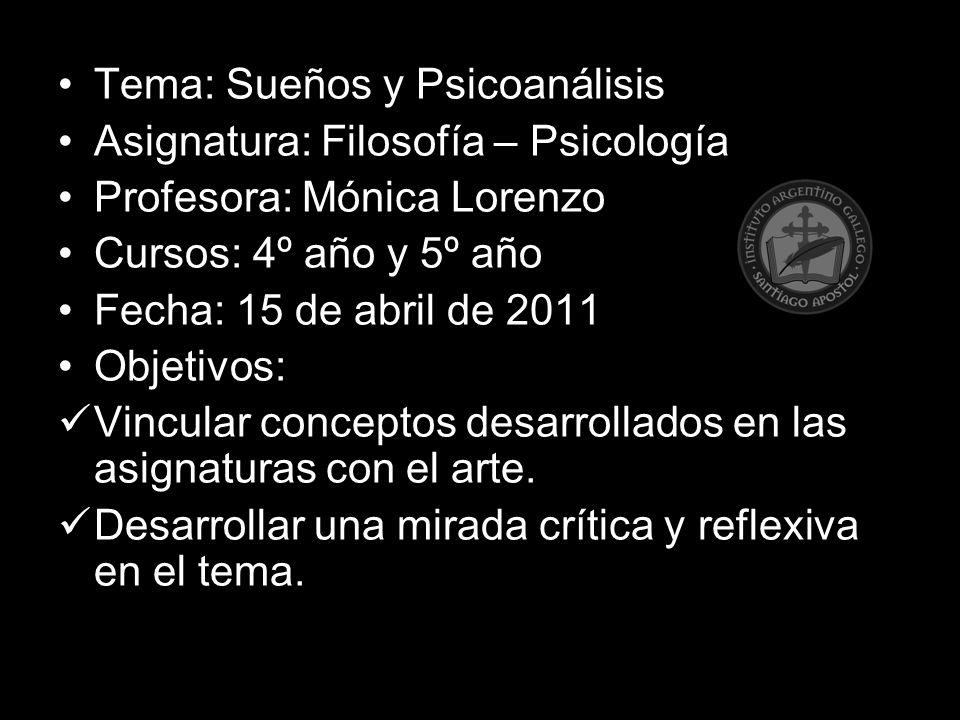 Tema: Sueños y Psicoanálisis