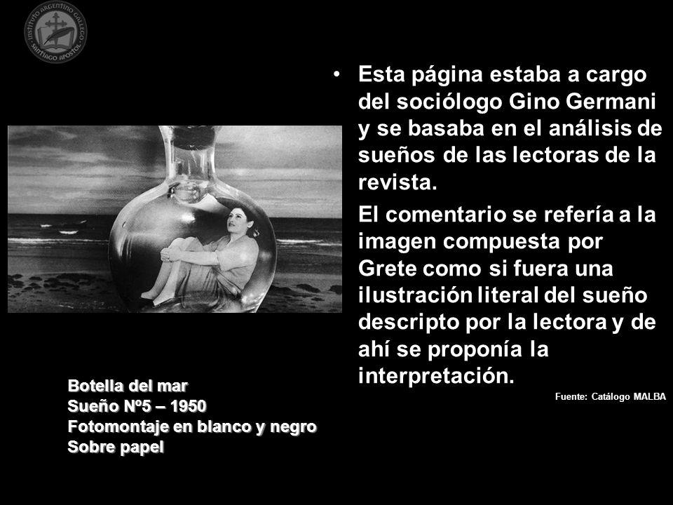 Esta página estaba a cargo del sociólogo Gino Germani y se basaba en el análisis de sueños de las lectoras de la revista.