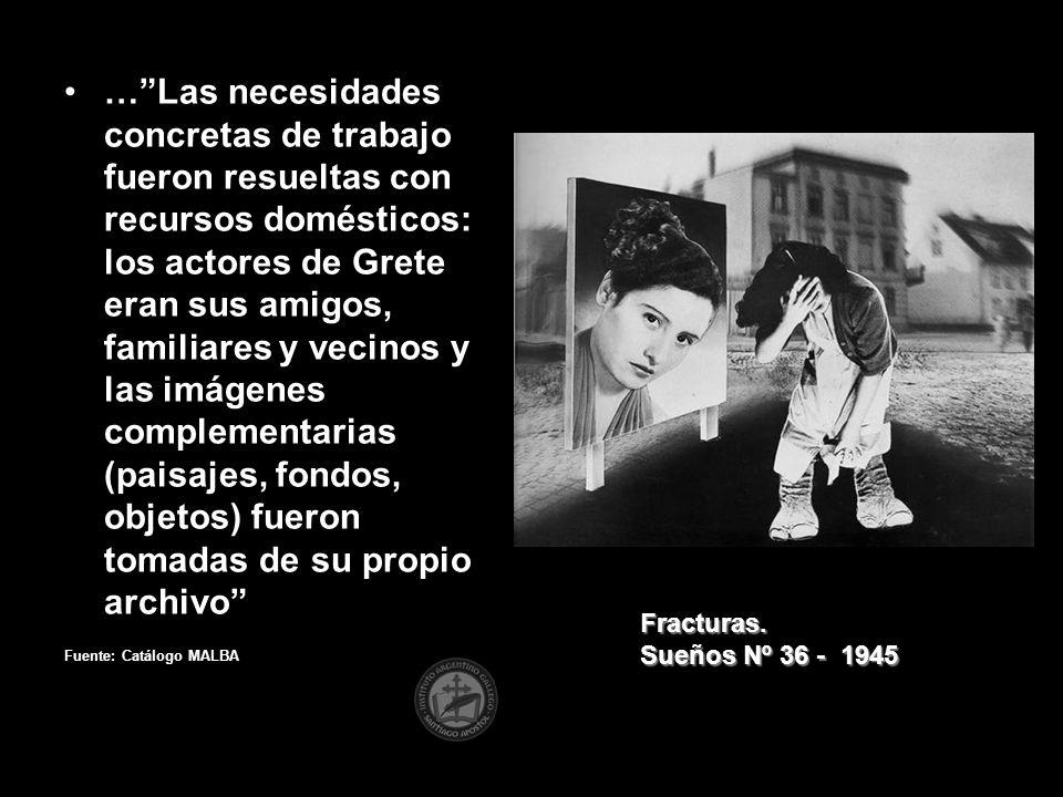 … Las necesidades concretas de trabajo fueron resueltas con recursos domésticos: los actores de Grete eran sus amigos, familiares y vecinos y las imágenes complementarias (paisajes, fondos, objetos) fueron tomadas de su propio archivo