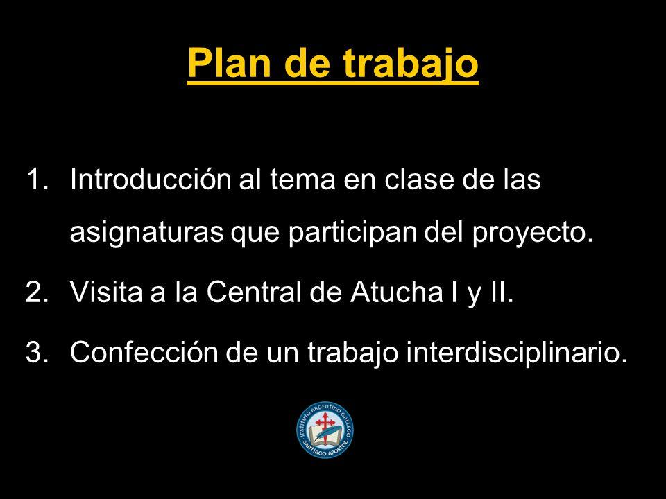 Plan de trabajo Introducción al tema en clase de las asignaturas que participan del proyecto. Visita a la Central de Atucha I y II.
