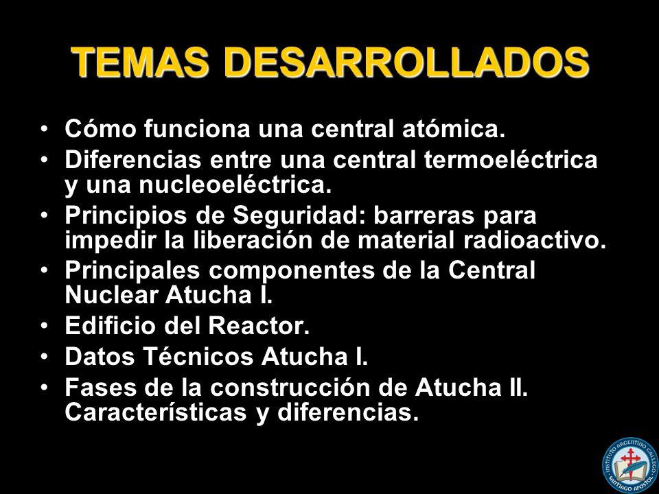 TEMAS DESARROLLADOS Cómo funciona una central atómica.