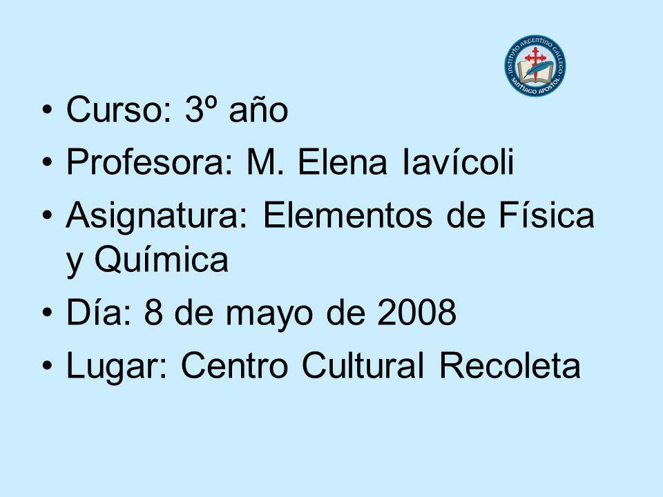 Curso: 3º año Profesora: M. Elena Iavícoli. Asignatura: Elementos de Física y Química. Día: 8 de mayo de 2008.