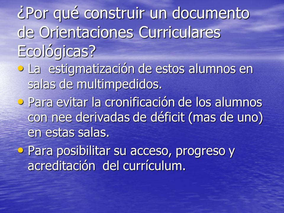 ¿Por qué construir un documento de Orientaciones Curriculares Ecológicas