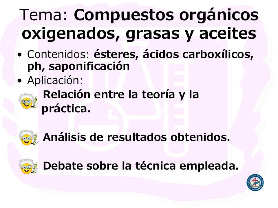 Tema: Compuestos orgánicos oxigenados, grasas y aceites