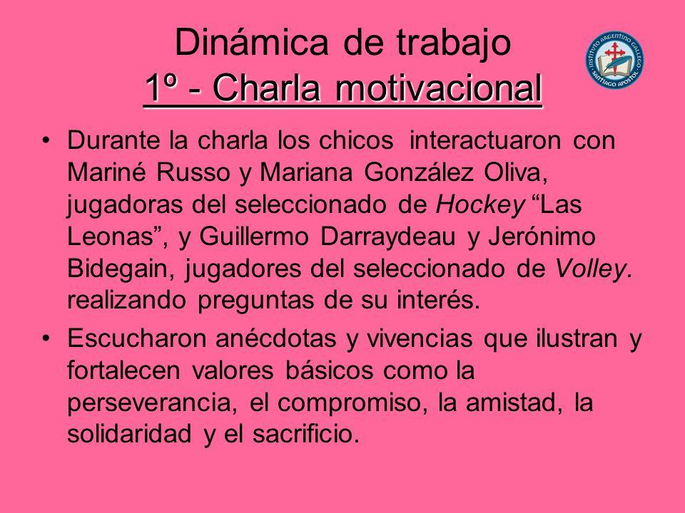 Dinámica de trabajo 1º - Charla motivacional