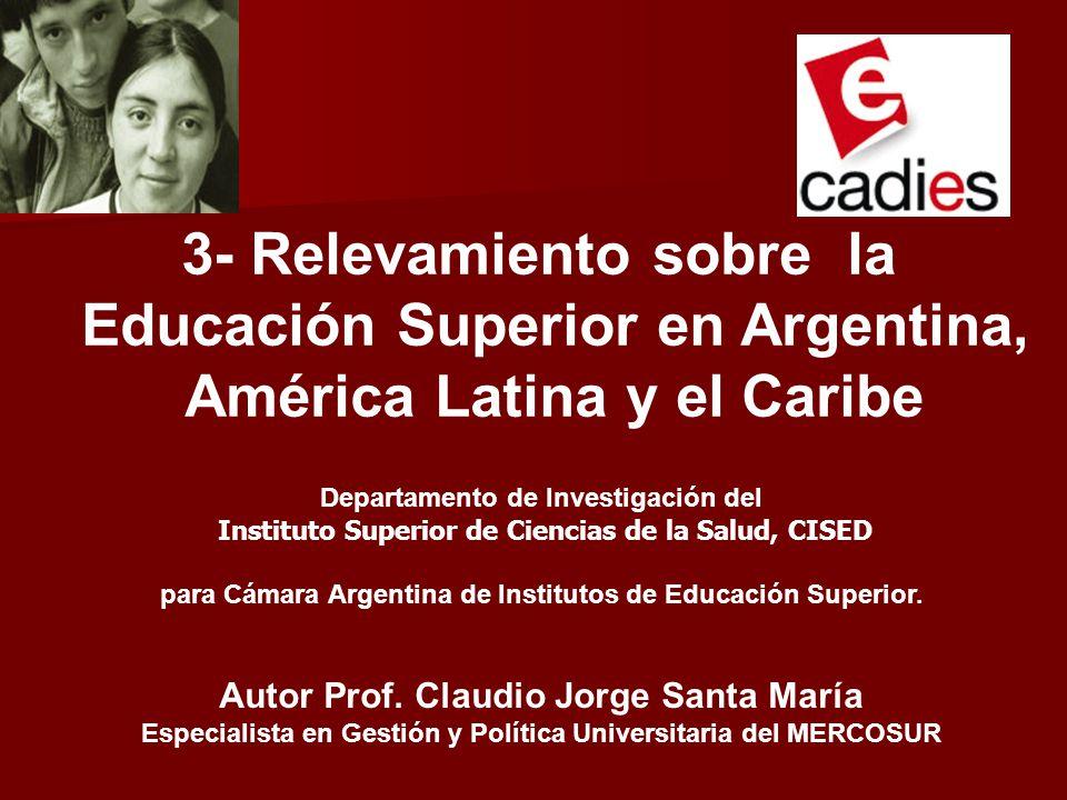 3- Relevamiento sobre la Educación Superior en Argentina,