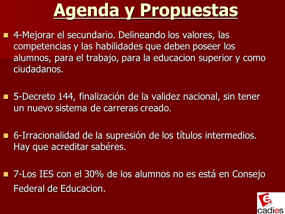 Agenda y Propuestas