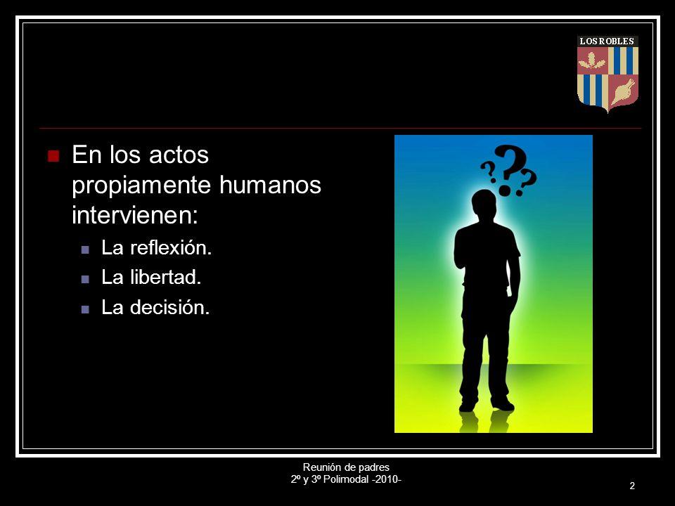 En los actos propiamente humanos intervienen: