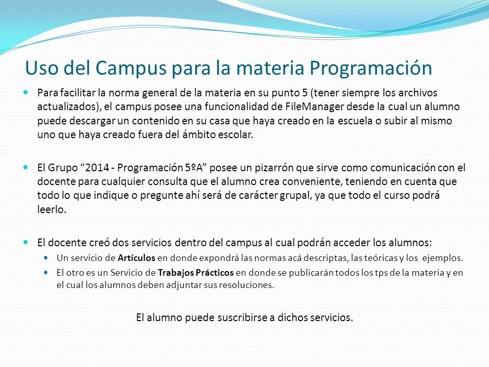 Uso del Campus para la materia Programación