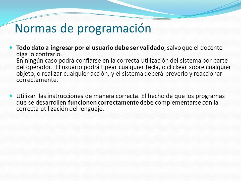 Normas de programación