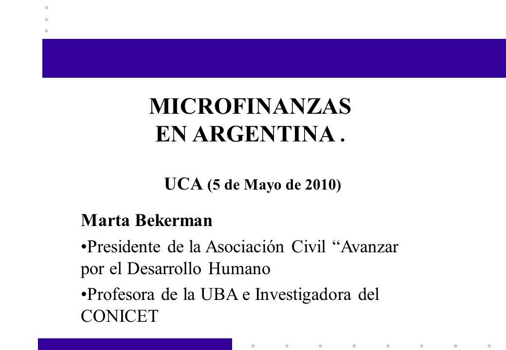 MICROFINANZAS EN ARGENTINA .
