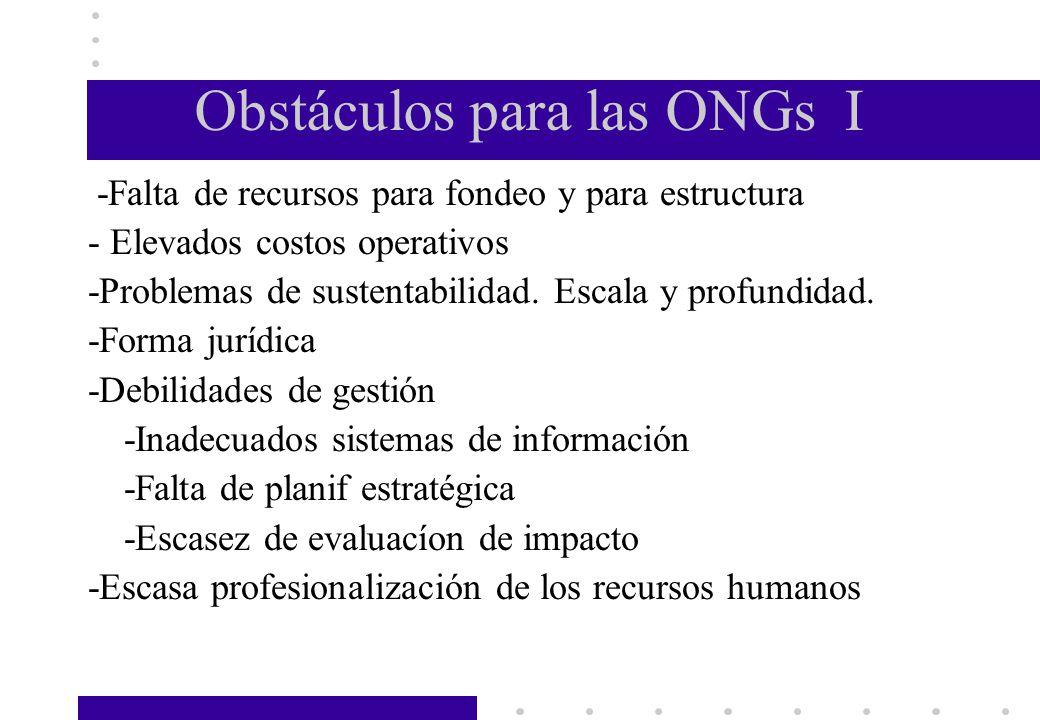 Obstáculos para las ONGs I