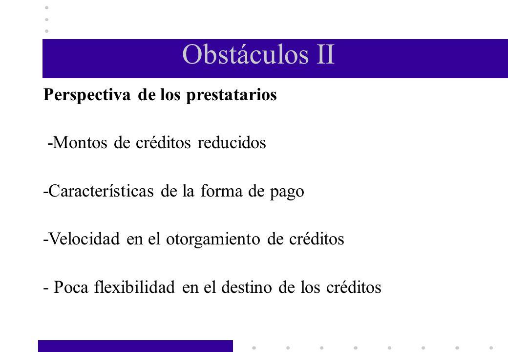 Obstáculos II Perspectiva de los prestatarios
