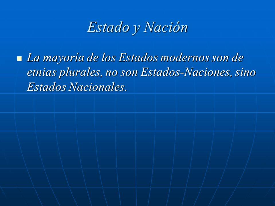 Estado y Nación La mayoría de los Estados modernos son de etnias plurales, no son Estados-Naciones, sino Estados Nacionales.